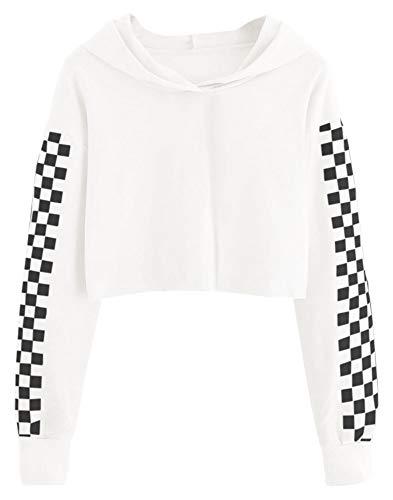 Imily Bela Kids Crop Tops Girls Hoodies Cute Plaid Long Sleeve Fashion Sweatshirts White