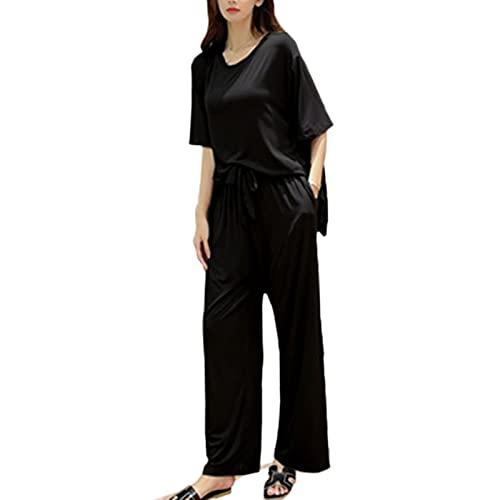 TIANLU Pantalones de pijama de punto elástico para mujer Traje de pijama de pantalón de dormir modal(Negro/SG)