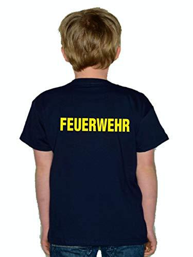 feuer1 T-shirt pour enfant Navy, pompiers avec long F (recto-verso) en jaune fluo.