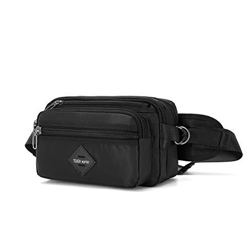 Riñonera deportiva, bolsa de correr para hombre y mujer, correa ajustable con 6 bolsillos, apta para senderismo, ciclismo, alpinismo, camping (negro, grande)