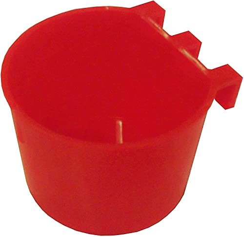 10 Pack Cage Cups Plastic Hanging Chicken Feeders Pet Water Bowl with Hooks Pigeon Bird Food Dish for Wire Cages Gamefowl Supplies Poultry Parakeet Rabbite Coop Cups (10 Pack, Red)