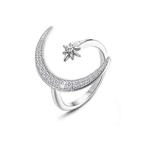 CASSIECA 925 Sterling Silver Ring for Women Girls Adjustable Opening Ring Crescent Moon and Star Ring with Cubic Zirconia Patron Saint Series Ring Jewellery with Gift Box