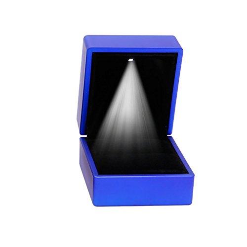 kanstore romántico LED iluminado pendientes anillo caja de regalo boda anillo de compromiso joyas pantalla caja (azul)