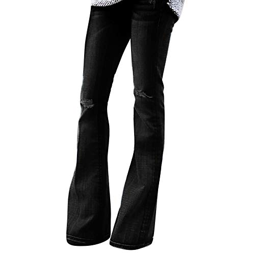 Clearance!Womens Classic Flare Pants Mid Waist Stretch Slim Fit Wide Leg Hole Denim Jeans Bell Bottoms Pants S-2XL (Black, Large)
