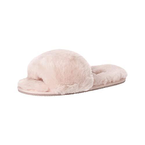 soxo Lammfell Hausschuhe Damen | Frauen Warme Fluffy Pantoffeln | Bequeme Fellhausschuhe in Rosa Farbe (2 Farbe), Hellrosa, 39 / 40 EU