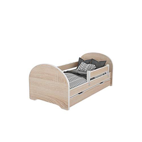 MEBLEX Cama infantil para niños con cajones y colchón de espuma de seguridad de 160 x 80 cm, muebles de dormitorio con marco de cama completo de MDF con cabecero integrado (todo Sonoma, 160 x 80 cm)