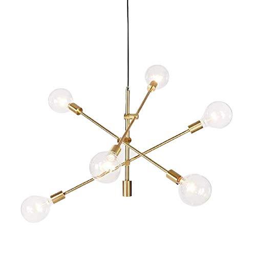 SONGYU Lámpara de araña, 6 Luces, iluminación Colgante Moderna, lámpara de Techo Sputnik para Restaurante, Sala de Estar, Dormitorio, Dorado