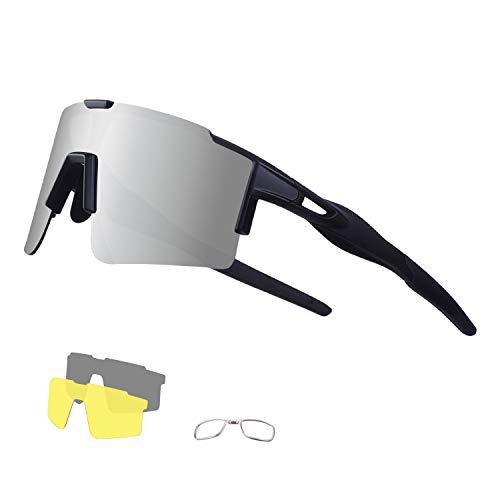 DUDUKING Sportbrille Fahrradbrille mtb brille für Herren und Damen mit 3 Wechselobjektiven TR90 UV400 Schutz Windschutz Radsportbrille für Outdooraktivitäten Autofahren Fischen Laufen Wandern