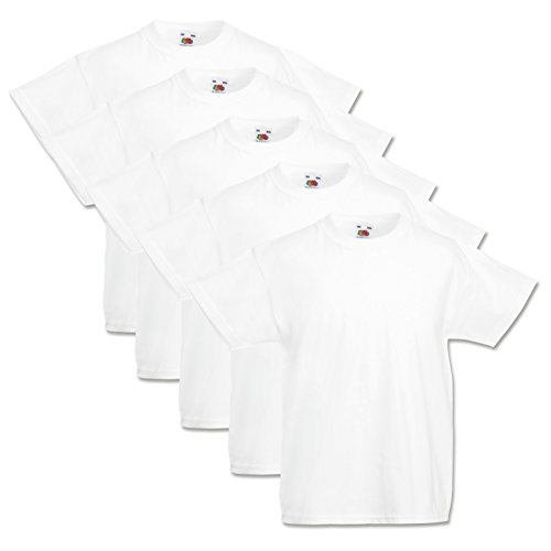 5 Fruit of the loom Kinder T-Shirts Valueweight 104 116 128 140 152 Diverse Farbsets auswählbar 100% Baumwolle (152, Weiss)