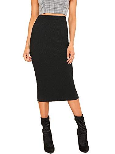 SheIn Women's Elegant Plain Stretchy Ribbed Knit Midi Full Length Basic Pencil Skirt Black Medium