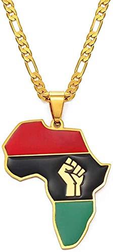 duoyunxiayu Collar Mapa de Color Africano y símbolo de puño Colgantes Collares Color Plateado/Color Dorado Mapas de África Joyería Negra de la Materia de la Vida
