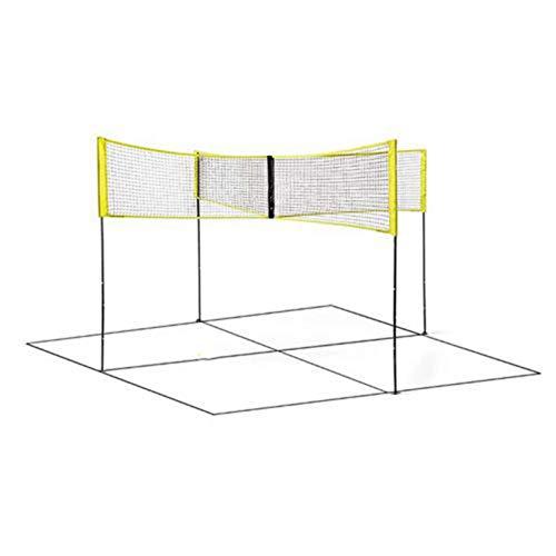 Schildeng Volleyball-Netz-Set mit Stangen, Vier-Quadrat-Volleyball-Netz-Set, tragbarer Crossnet-Spielanzug mit schneller Installation