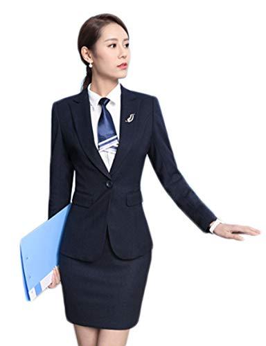 SK Studio Damen Rock Blazer Slim Fit Einfarbig Karriere Rock Anzug Sakko Blau 40 Tag 2XL