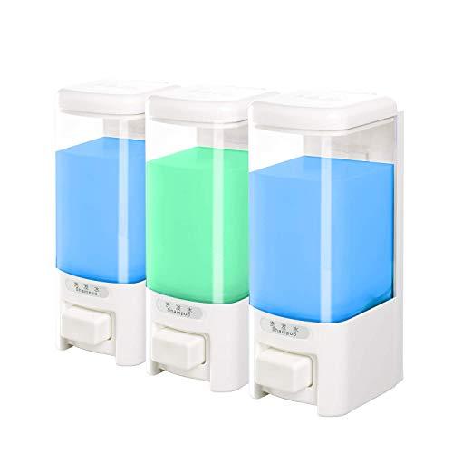 SVAVO V-8103 Triple Chambers Plastic Wall Mounted Liquid Hand Soap Dispenser for Hotel Bathroom White, Chrome 500ml3 Pack of 1
