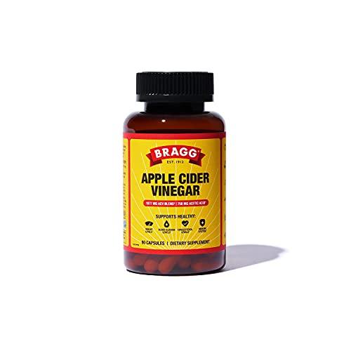 Bragg Apple Cider Vinegar Capsules - Vitamin D3 & Zinc - 750mg of Acetic Acid – Immune & Weight Management Support - Non-GMO, Vegan, Gluten Free, No Sugar - (90 Capsules)