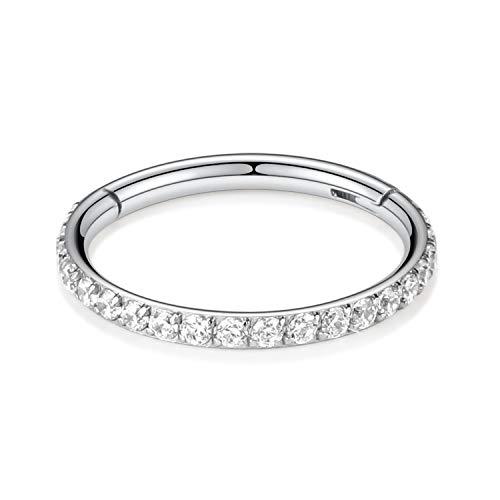 Kzslive 18G CZ Nose Rings Septum Clicker G23 Titanium Segment Helix Cartilage Earrings Hoop Daith Piercing Jewelry