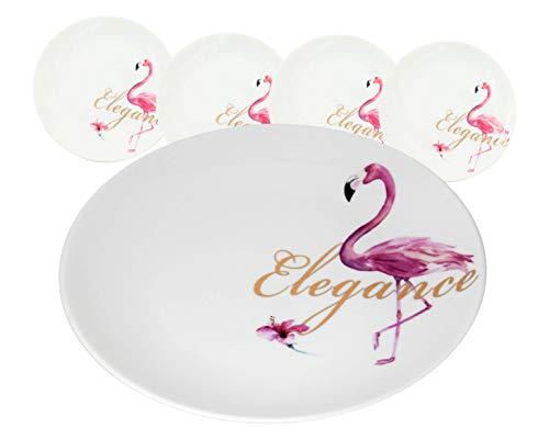 LA VITA VIVA Design Flamingo Set von 4 Tellern Elegance aus hochwertigem Porzellan Ø26 cm