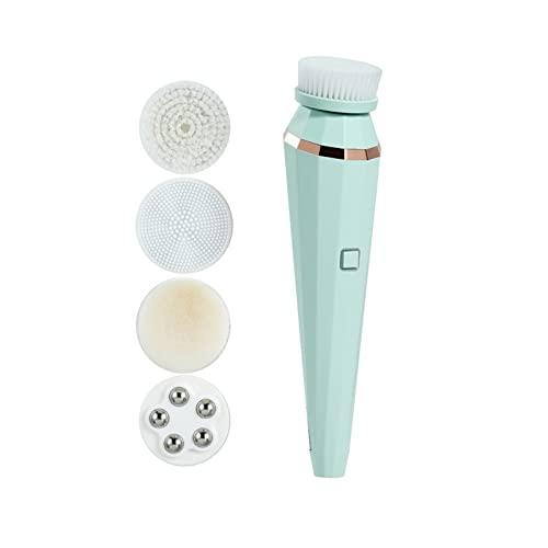 YYL 4 en 1 Cepillo Limpiador Facial Eléctrico Limpieza Profunda Aspiradora Removedora de Espinillas con 4 Cabezales de Cepillo Intercambiables y 3 Modos de Velocidad (Color : Green)