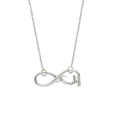 Sterling Silber side-ways Infinity Familie verstellbar Halskette diamantiert Kabel Kette–46centimete