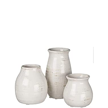 Sullivans Rounded Vase, Worn White