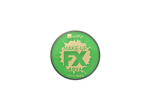 Smiffy\'S 39138 Maquillaje Fx Smiffy, Aqua Pintura Facial Y De Cuerpo, Brillante, Verde Brillante