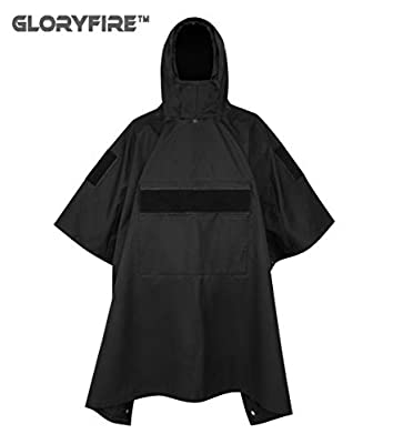 GLORYFIRE Poncho Technical Soft-Shell Poncho Tactical Ripstop Raincoat Multi-use for Camping Hiking Climbing Backpacking Military Surplus Emergency Poncho Blanket Patrol Poncho (Black)