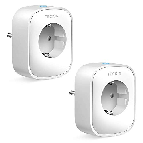 Presa Intelligente WiFi Smart Plug Spina Energy Monitor Compatibile con Google Home/Amazon Alexa,TECKIN Controllo Remoto Funzione di Temporizzazione Presa Wireless per iOS Android App (2pack)
