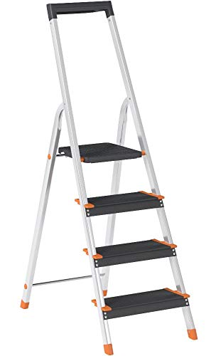 Amazon Basics Folding Step Ladder - 4-Step, Aluminum with Wide Pedal, Silver and Black