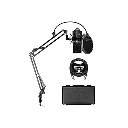 MXL 770 Cardioid Condenser Microphone Recording Vocals, Pianos, Guitars, and String Instruments Bundle with Blucoil 10-FT Balanced XLR Cable, and Boom Arm Plus Pop Filter
