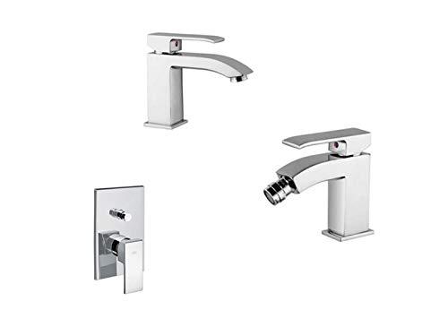 Paffoni Level tris miscelatori lavabo, bidet e doccia con deviatore