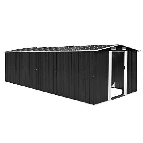 vidaXL Gerätehaus 257x597x178cm Metall Gartenhaus Geräteschuppen Schuppen