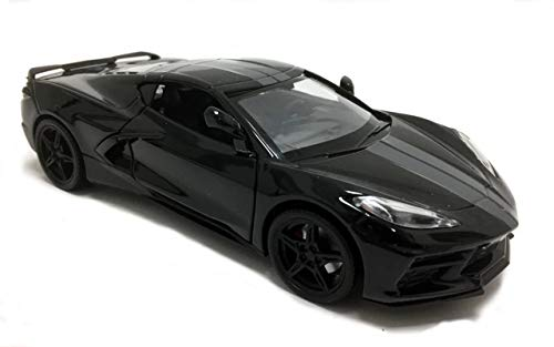 2020 Chevrolet Corvette C8 Stingray Black with Gray Stripes 1/24 Diecast Model Car by Motormax 79360