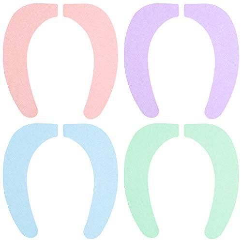Gwolf Toilettensitzabdeckung, Toilettensitzbezug, Wärmer WC-Sitzbezug, Toilettenmatte Stick-Typ Waschbar Wc-Sitz Pad Wc Wärmer Pad für Universal Toilettensitz, Toilet Seat Cover 4 Sätze