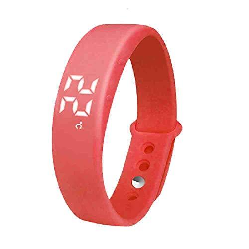 OLUYNG Reloj de Pulsera Producto Reloj Led Multifuncional Hombres Pulsera Relojes Luz Led Moda Electrónica Reloj Wris Reloj Hombre SL-W5, Rojo