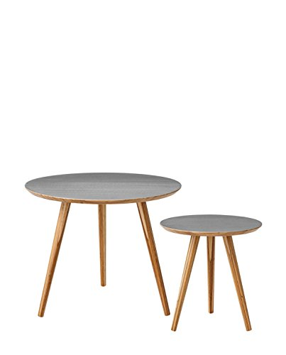 Bloomingville Table Basse en Bambou Gris Lot de 2