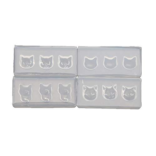 4 x 3D-Silikon-Nagelkunst-Formen mit Katzenkopf, transparent, Cartoon-Katzen-Form, Nagelkunst-Schablonen, Pflegewerkzeuge