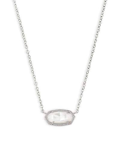 Kendra Scott Elisa Short Pendant Necklace for Women, Dainty Fashion Jewelry, Ivory Mother of Pearl, Rhodium-Plated
