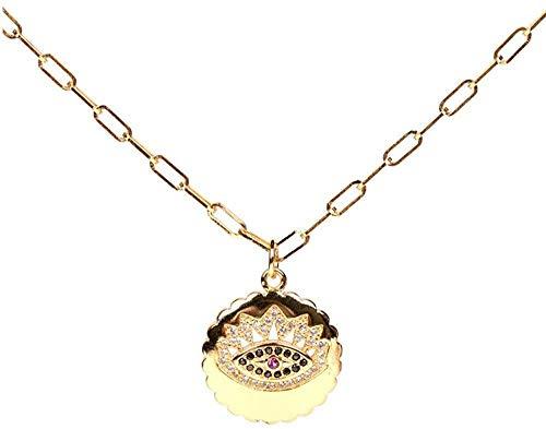 Collar Micro Pave Zircon Turco Mal De Ojo Colgante Redondo Collar De Color Dorado Collar De Cadena Larga Joyería para Mujeres Niñas 45Cm