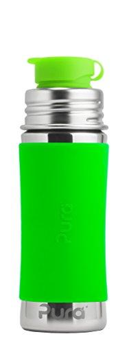 PuPura 11 Oz/325 ml Edelstahl Kinder Sport Flasche mit Silikon Sport Flip Cap & Ärmel (Kunststoff, ungiftig Zertifiziert, frei von Bisphenol A)
