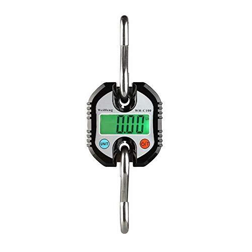 Yiwa Mini-weegschaal, 150 kg x 50 g, elektronisch, robuust, schaal met haak om op te hangen, LCD-gewicht, zwart