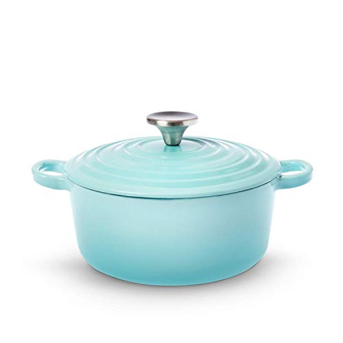 House of Living Art 27Quart Enameled Cast Iron Covered Casserole – Blue Mist