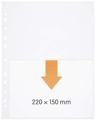 perfect line 100 buste trasparenti A4, buste portadocumenti trasparenti divise in 2 scomparti (A5-trasversale), foglio trasparente incolore con inserimento di sopra