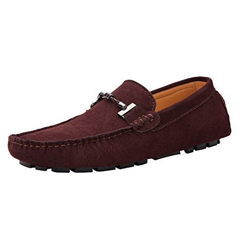 Yaer Hombres Mocasines Plano Slip On Holgazanes de Conducción Casuales Zapatos del Barco Cuero Zapatillas de Gamuza 39-49 EU