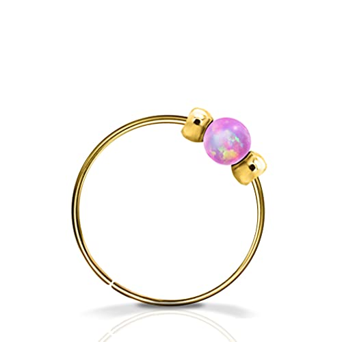 Small Pink Opal Nose Ring Hoop - 2mm pink opal 14k Gold Filled Nose Piercing ring