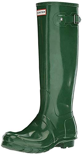 HUNTER Original Tall Gloss Rain Boots Dark Olive 10