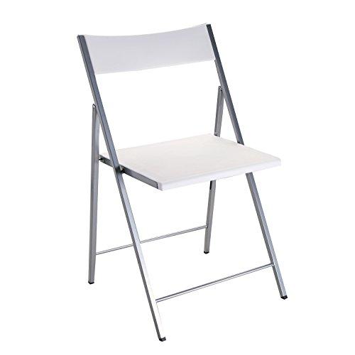 Versa Belfort Silla de comedor, cocina o terraza, Plegable, Medidas (Al x L x An) 77 x 42,3 x 42,5 cm, Plástico y metal, Color Blanco