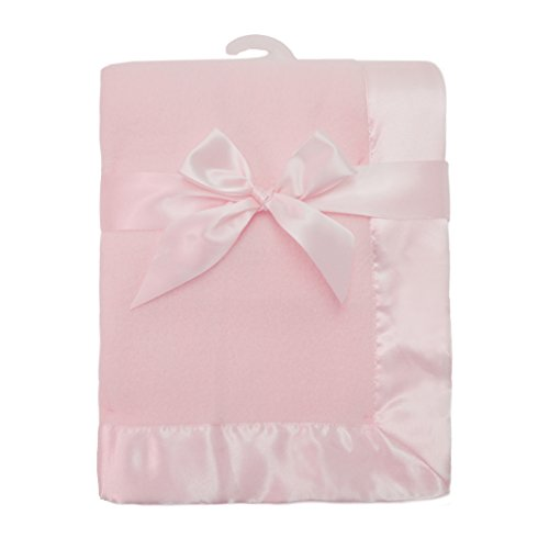 American Baby Company Fleece Blanket 30 X 40 with 2 Satin Trim Pink for Girls