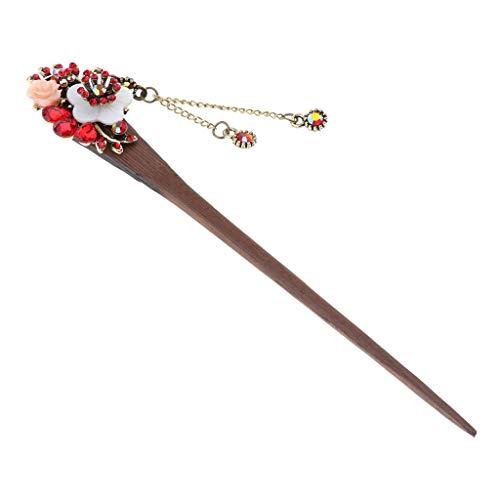 IPOTCH Bâtons de Cheveux Chinois en Bois Style Intemporel à L'élégance Décorative. Mariage, Fêtes, Occasions Spéciales - rouge, 16cm