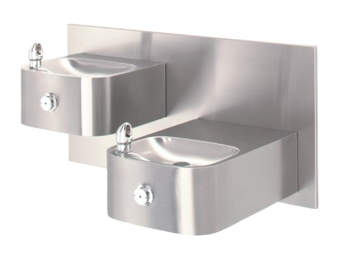 "Haws 1119.14 Dual Satin Finish 14 Gauge 304 Stainless Steel ""Hi-Lo"" Barrier-Free Wall Mounted Drinking Fountain with Back Panel (Mounting Frame Not Included)"