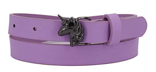 EANAGO Cinturón infantil \'Unicorn\' para niñas (niños de jardín de infantes y escuelas primarias, 4-8 años), caderas 47-62 cm, con hebilla de unicornio (Violeta)